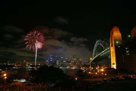sydney harbour bridge: A display of fireworks in Sydney Stock Photo