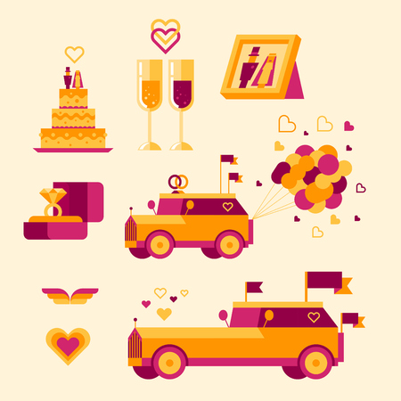 Icon set for a wedding celebration photo