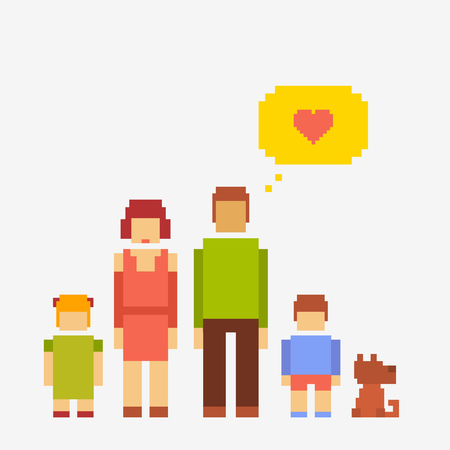 pixel people family of four people and a dog photo