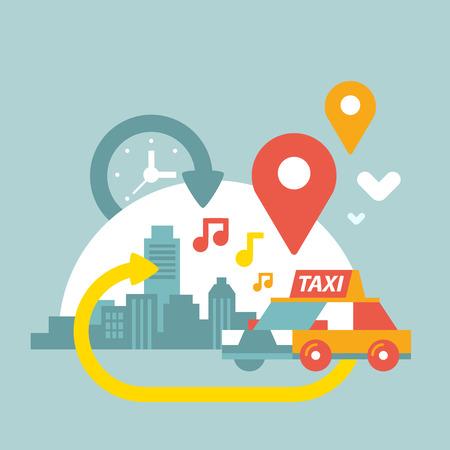 kleurrijke illustratie van een leven in de stad met de taxi en geo locatie