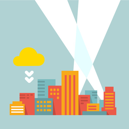 colorful flat style illustration modern city in the bright rays of light Vector