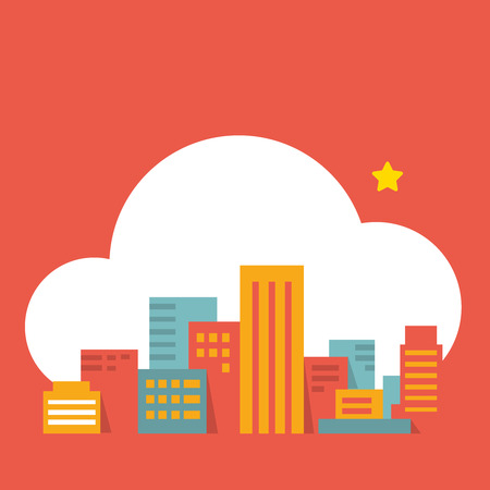 clouds scape: colorful flat style illustration modern city  in the cloud