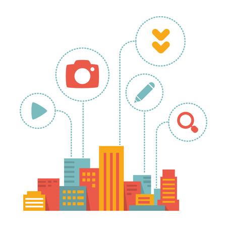 city scape: colorful flat style illustration modern city  with icons of daily activity on white background Illustration