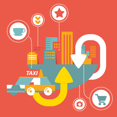 Colorful Vector taxi service in big city  with icons Vector