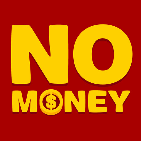 text no money on a red background Stock Vector - 25816019