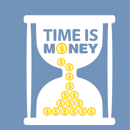 illustration with hourglass time is money on blue background Vector