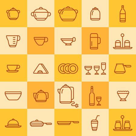 cookware: conjunto de iconos de los diferentes tipos de utensilios de cocina sobre un fondo de color