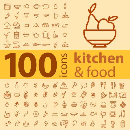 (100) 조리기구, 식품, 과일의 다른 유형의 아이콘과 컬러 배경에 야채 세트