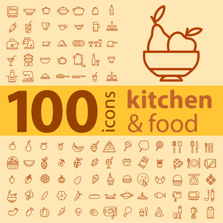 set of 100 icons of different types of cookware, food, fruits and vegetables on a colored background Ilustração