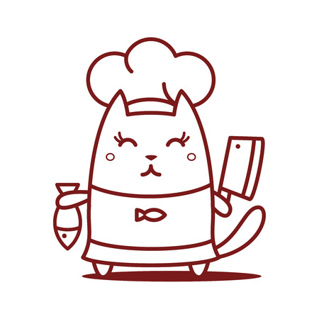 Character chef in a chefs hat line art. Cat female stands smiling and holding a knife and fish   Vector
