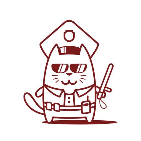 portable radio: Polic�a de caracteres en una gorra de oficial y en la forma de la polic�a con un arte oficial line palo. Var�n Gato est� sonriendo y sosteniendo un bast�n oficial