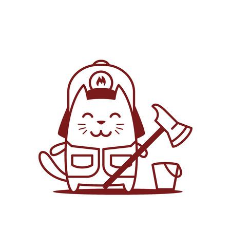 ライン アートのヘルメットおよびつなぎ服消防士の文字します。猫の男性立っている笑顔と消防斧を保持