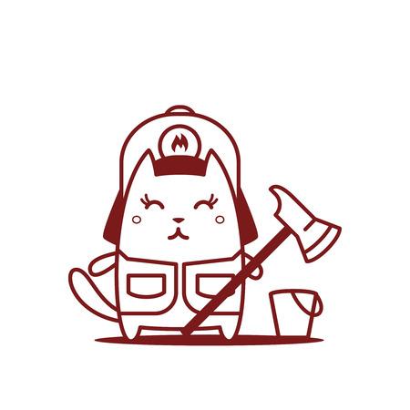 ライン アートのヘルメットおよびつなぎ服消防士の文字します。猫女性は笑みを浮かべてと消防斧を持って立っています。