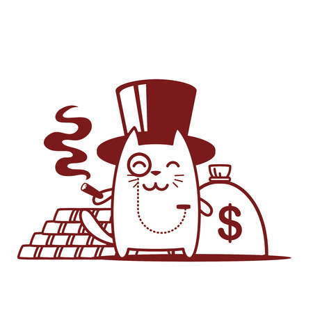 Character rich gentleman in a hat-cylinder and a monocle line art. Cat male stands smiling and holding a cigar Vector