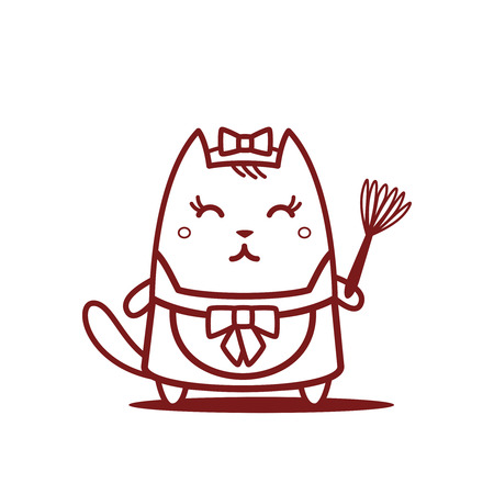 Character maid apron with a bow line art.  Cat female stands smiling and holding a dust  whisk