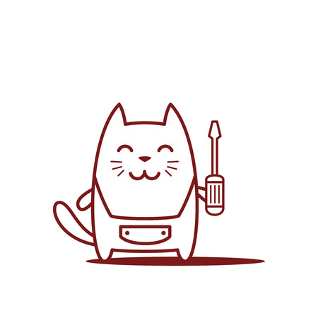 neatness: Character home handyman in uniform line art. Cat male stands smiling and holding a screwdriver