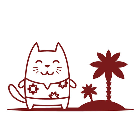 Character tourist wearing sunglasses and a shirt with flowers line art. Cat male stands smiling  Vector
