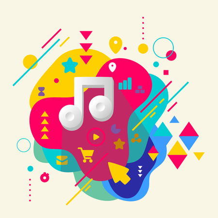 Note on abstract colorful spotted background with different elements. Flat design. Vector