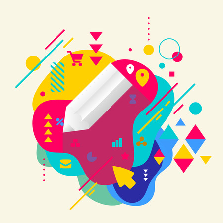 Pencil on abstract colorful spotted background with different elements. Flat design.