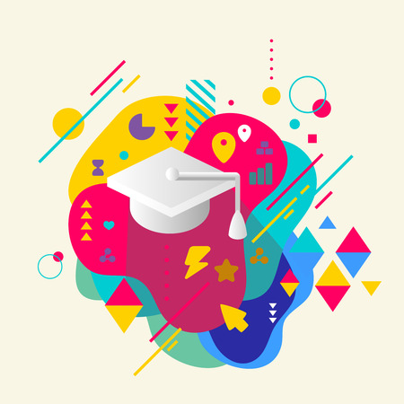 fresh graduate: Academic hat on abstract colorful spotted background with different elements. Flat design. Illustration