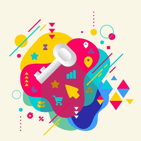 Sleutel op abstracte kleurrijke gevlekte achtergrond met verschillende elementen. Plat ontwerp. Stock Illustratie