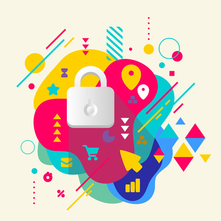 Lock on abstract colorful spotted background with different elements. Flat design. Vector