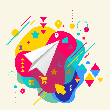 Paper airplane on abstract colorful spotted background with different elements. Flat design. Vector