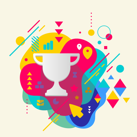 Cup winner on abstract colorful spotted background with different elements. Flat design. Vector