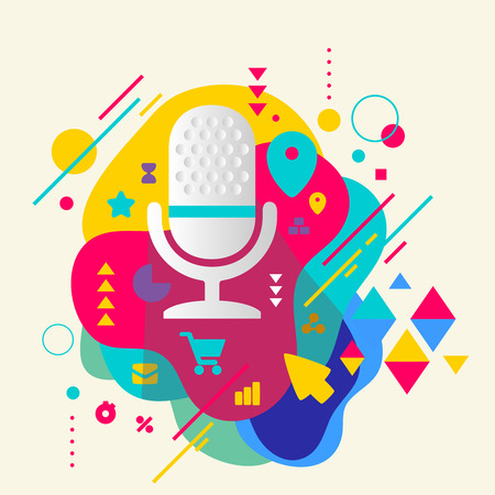 entertaining presentation: Microphone on abstract colorful spotted background with different elements. Flat design. Illustration