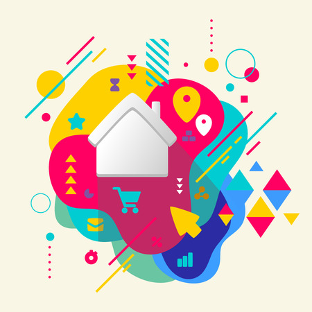 House on abstract colorful spotted background with different elements. Flat design.