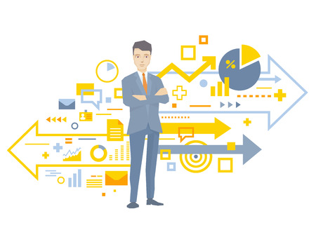 work performance: Vector illustration of a portrait of the leader of a businessman wearing a jacket with clasped hands on his chest stands near the scheme of business processes on white background  Illustration