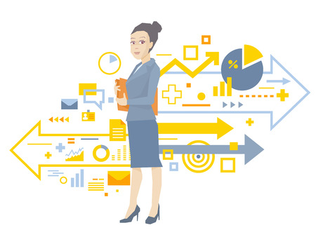 summarize: Vector illustration portrait of a woman manager keeps a folder with documents in hands stands near the scheme of business processes on white background  Illustration