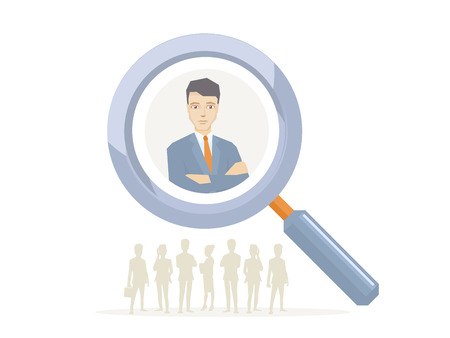 Vector illustration of a portrait of the leader businessman wearing a jacket with clasped hands on his chest seen through a magnifier on white background with silhouettes of business people Illustration