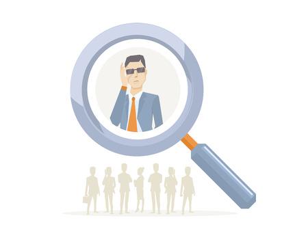 headhunter: Vector l'illustrazione di un ritratto di analista uomo in una giacca mano tiene i vetri visto attraverso una lente di ingrandimento su sfondo bianco con sagome di uomini d'affari