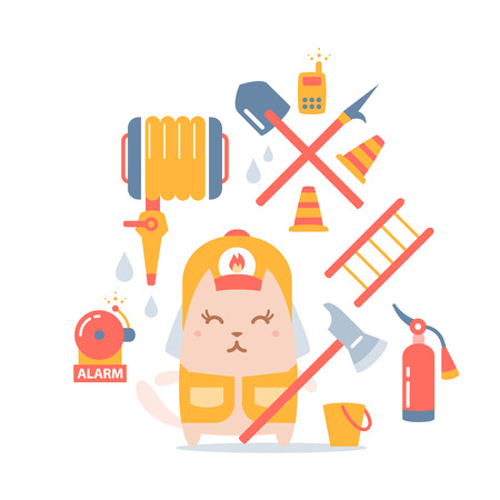 cat call: Character firefighter in coveralls and helmet colorful flat composition of professional accessories. Cat female stands smiling and holding a  fire ax