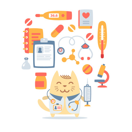 Character doctor in medical coat with a stethoscope colorful flat composition of professional accessories. Cat male stands smiling and holding a  syringe Vector