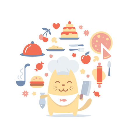 Character chef in a chefs hat colorful flat composition of professional accessories. Cat male stands smiling and holding a fish and a large knife Vector