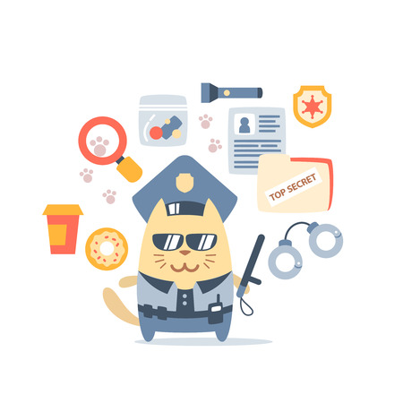 Character police in officers cap and in the form of police with a official stick colorful flat composition of professional accessories. Cat male stands smiling and holding a  police stick Vector