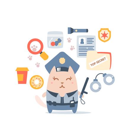 portable radio: Polic�a de caracteres en una gorra de oficial y en la forma de la polic�a con un palo oficial colorido composici�n plana de accesorios profesionales. Hembra del gato est� sonriendo y sosteniendo un bast�n de polic�a