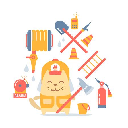 プロ アクセサリーのカラフルな平らな組成のヘルメットおよびつなぎ服消防士の文字します。猫の男性立つ微笑し、火の斧を保持