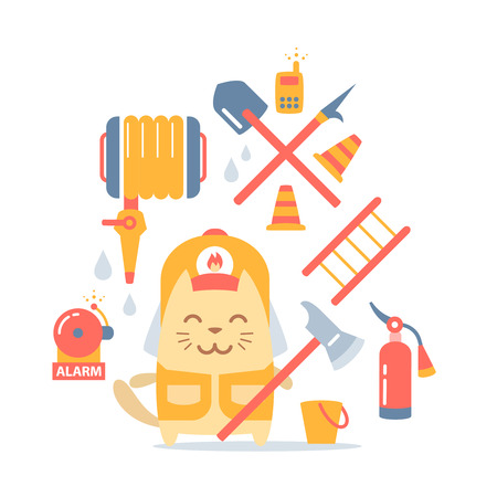 cat call: Character firefighter in coveralls and helmet colorful flat composition of professional accessories. Cat male stands smiling and holding a  fire ax Illustration