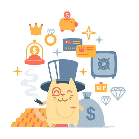 Character rich gentleman in a hat-cylinder and a monocle colorful flat composition of professional accessories. Cat male stands smiling and holding a  cigar Vector