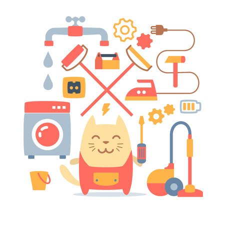 janitorial: Character home handyman in uniform colorful flat composition of professional accessories. Cat male stands smiling and holding a  screwdriver Illustration