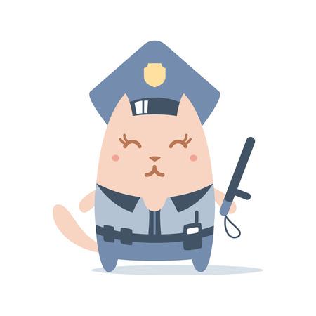 portable radio: Polic�a de caracteres en una gorra de oficial y en la forma de la polic�a con un palo oficial colorido plana. Hembra del gato est� sonriendo y sosteniendo un bast�n oficial Vectores