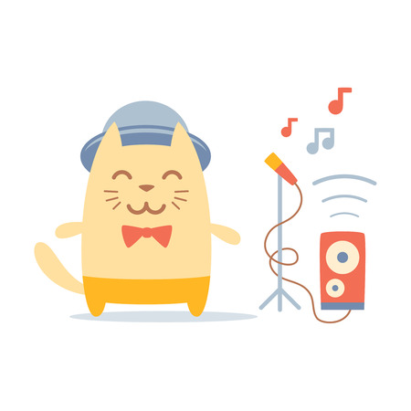 improvisation: Musician character in costume, hat and bow tie colorful flat. Cat male stands smiling