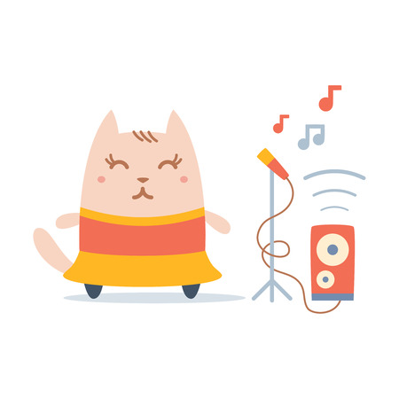 Character dancer in dress colorful flat. Cat female stands smiling  Vector