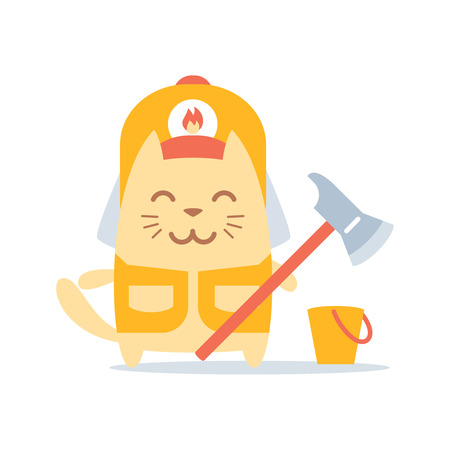 カラフルなフラットのヘルメットおよびつなぎ服消防士の文字します。猫の男性立っている笑顔と消防斧を保持