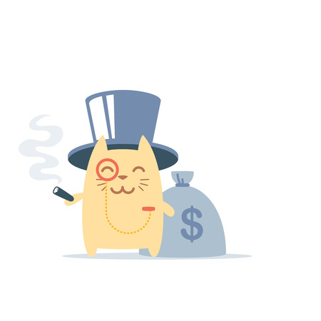 Character rich gentleman in a hat-cylinder and a monocle colorful flat. Cat male stands smiling and holding a cigar Vector
