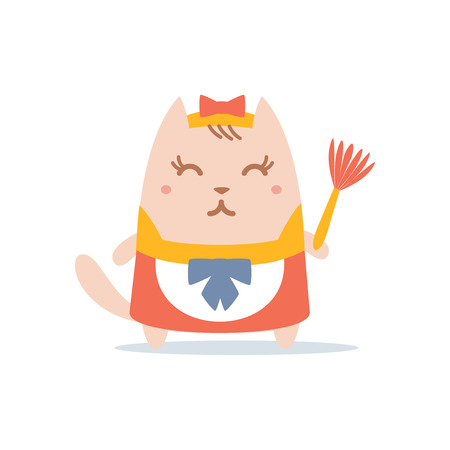whisk broom: Character maid apron with a bow colorful flat.  Cat female stands smiling and holding a dust whisk