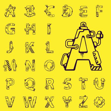 黄色の背景に英語のアルファベット機械ロボット スタイルの文字の黒いベクター セット